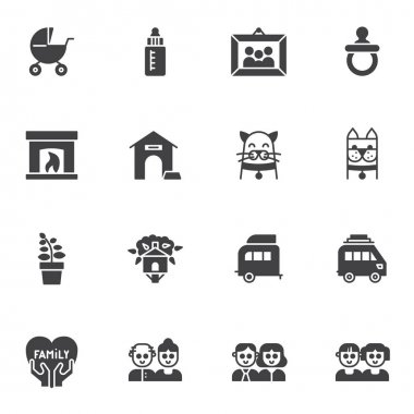 Happy family vector icons set, modern solid symbol collection, filled style pictogram pack. Signs, logo illustration. Set includes icons as two children, dad and mom, dog cat pets, family portrait icon