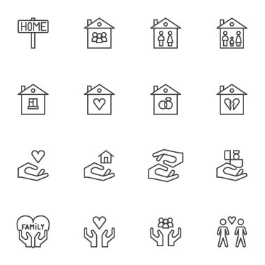 Family house line icons set. linear style symbols collection, outline signs pack. vector graphics. Set includes icons as home, love family heart, newlyweds, real estate, mother, father, valentine icon