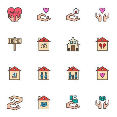 Family house filled outline icons set, line vector symbol collection, linear colorful pictogram pack. Signs, logo illustration, Set includes icons as sweet home, real estate, mother, father, valentine icon
