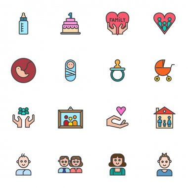 Happy family filled outline icons set, line vector symbol collection, linear colorful pictogram pack. Signs logo illustration, Set includes icons as newborn baby, family love, human embryo, dad mom icon