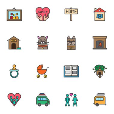 Family love filled outline icons set, line vector symbol collection, linear colorful pictogram pack. Signs logo illustration, Set includes icons as dog and cat, fireplace, home, family love, heart icon
