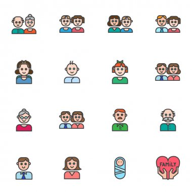 Family members filled outline icons set, line vector symbol collection, linear colorful pictogram pack. Signs, logo illustration, Set includes icons as  parents, dad mom baby son, daughter, girl, boy icon