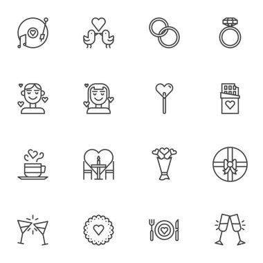 Wedding love line icons set. linear style symbols collection, Valentines day outline signs pack