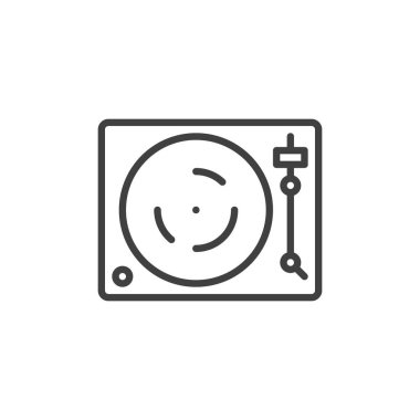 dj turntable line icon. linear style sign for mobile concept and web design. Turntable vinyl record player outline vector icon. DJ music symbol, logo illustration. Vector graphics