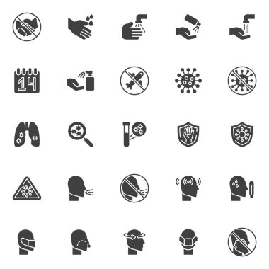 Coronavirus 2019-nCoV symptoms vector icons set, modern solid symbol collection, filled style pictogram pack. Signs, logo illustration. Set includes icons as runny nose, fever, washing hands, virus icon