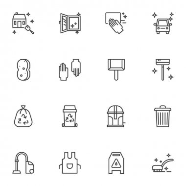 Cleaning service line icons set. linear style symbols collection, outline signs pack. vector graphics. Set includes icons as protective gloves, sponge, garbage bag, apron, car washing, house cleaning icon