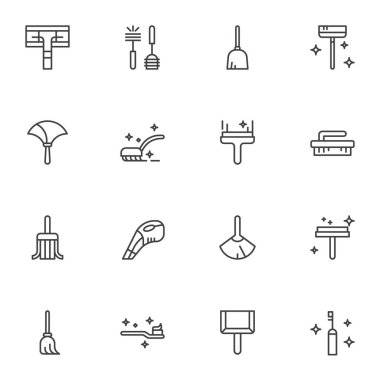 House cleaning equipment line icons set. linear style symbols collection, outline signs pack. vector graphics. Set includes icons as toilet brush, sweeping mop, scoop and broom, rubber squeegee icon