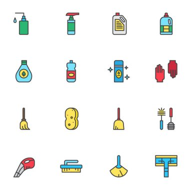 Cleaning equipment filled outline icons set, line vector symbol collection, linear colorful pictogram pack. Sign, logo illustration, Set includes icons as detergent bottles, sweeping mop, toilet brush icon