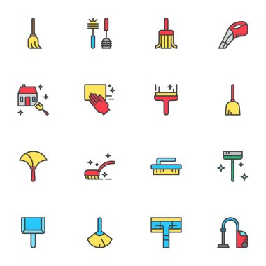 House cleaning equipment filled outline icons set, line vector symbol collection, linear colorful pictogram pack. Signs, logo illustration, Set includes icons as sweeping broom, brush, vacuum cleaner icon