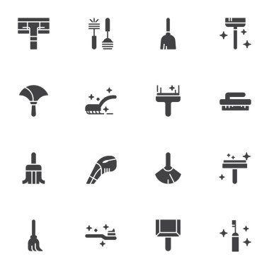 House cleaning equipment vector icons set, modern solid symbol collection, filled style pictogram pack. Signs, logo illustration. Set includes icons as toilet brush, sweeping mop, scoop and broom icon