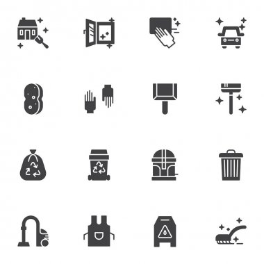Cleaning service vector icons set, modern solid symbol collection, filled style pictogram pack. Signs, logo illustration. Set includes icons as protective gloves, garbage bag, apron,  house cleaning icon