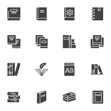 Bookstore books vector icons set