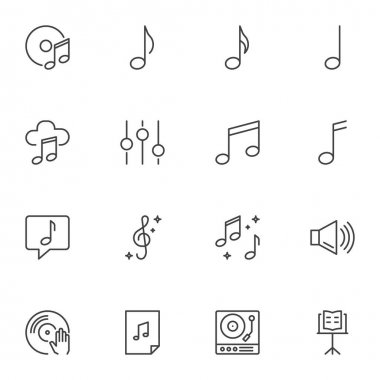 Sound, music line icons set, outline vector symbol collection, linear style pictogram pack. Signs, logo illustration. Set includes icons as musical note, compact disk, equalizer, vinyl, dj mixer icon