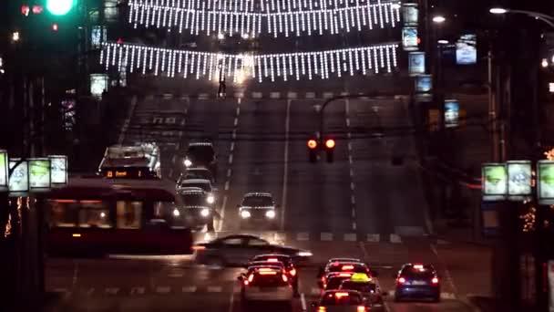 City night traffic time lapse