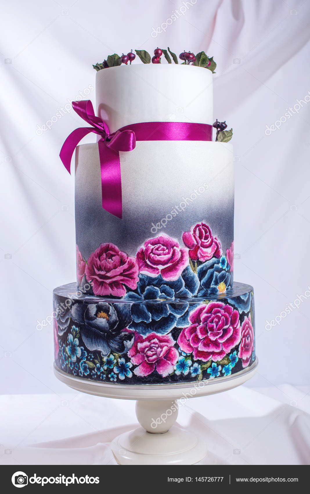 Wedding Cake Ornamented In Rustic Style Blue And Purple Roses