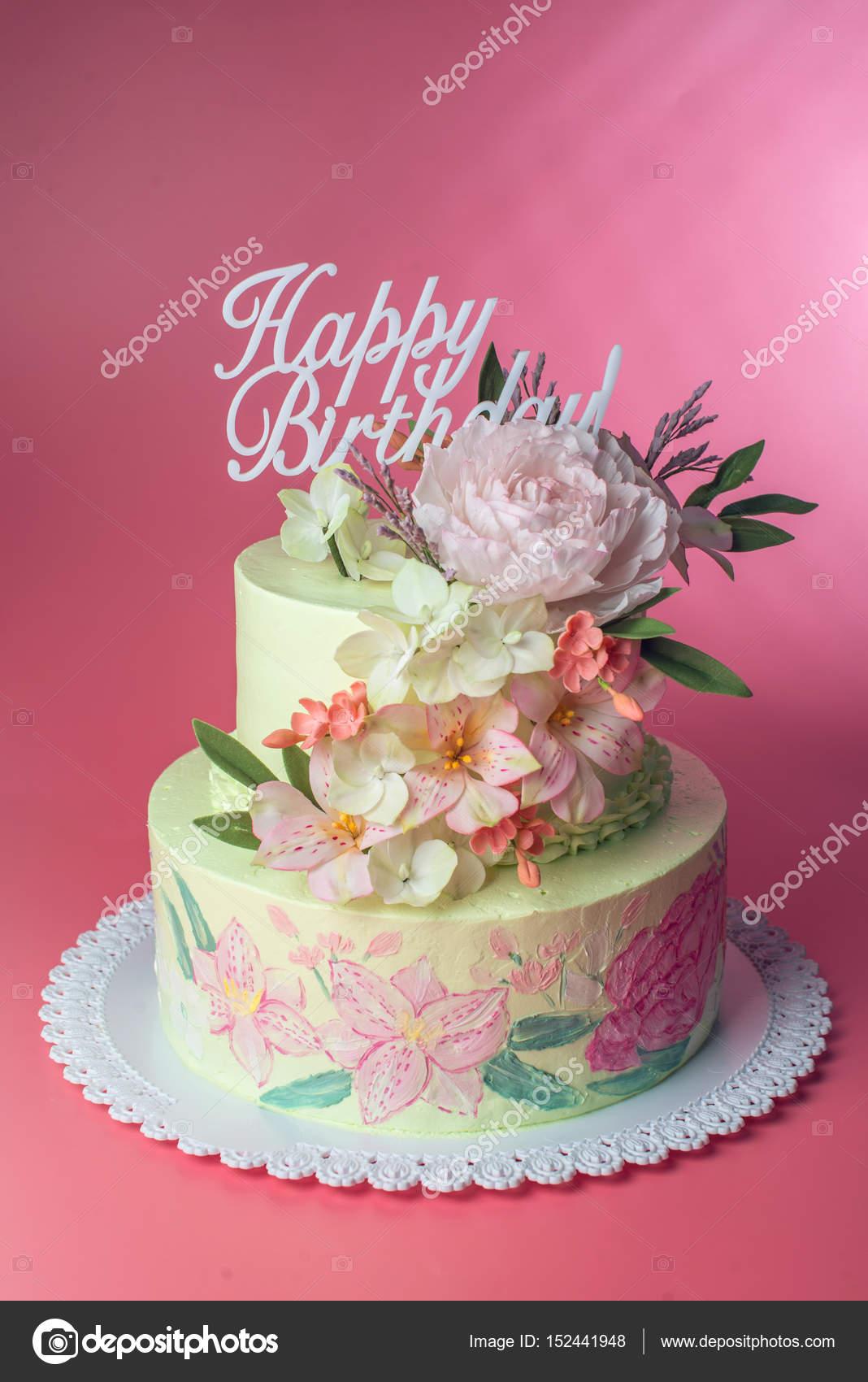 Super Happy Birthday Rose Cake A Beautiful Spring Two Tiered Cake Funny Birthday Cards Online Elaedamsfinfo