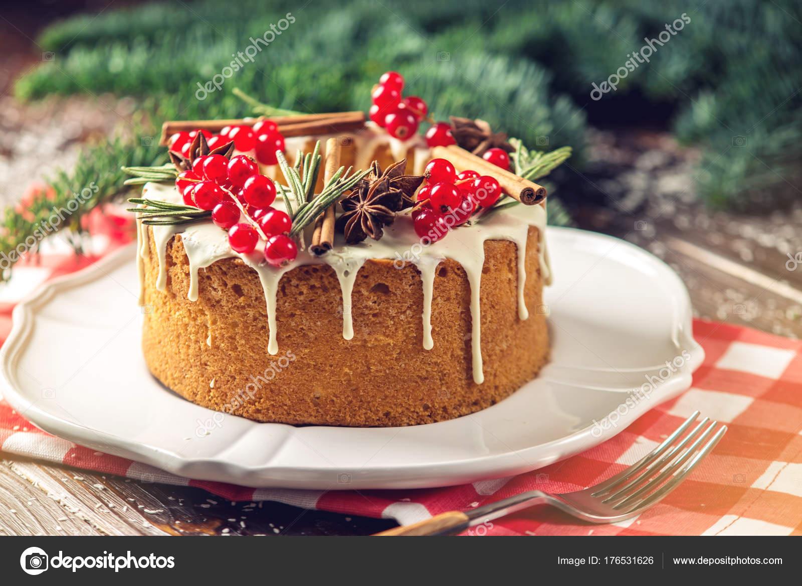 Weihnachten Oder Silvester Urlaub Beere Kuchen Verziert