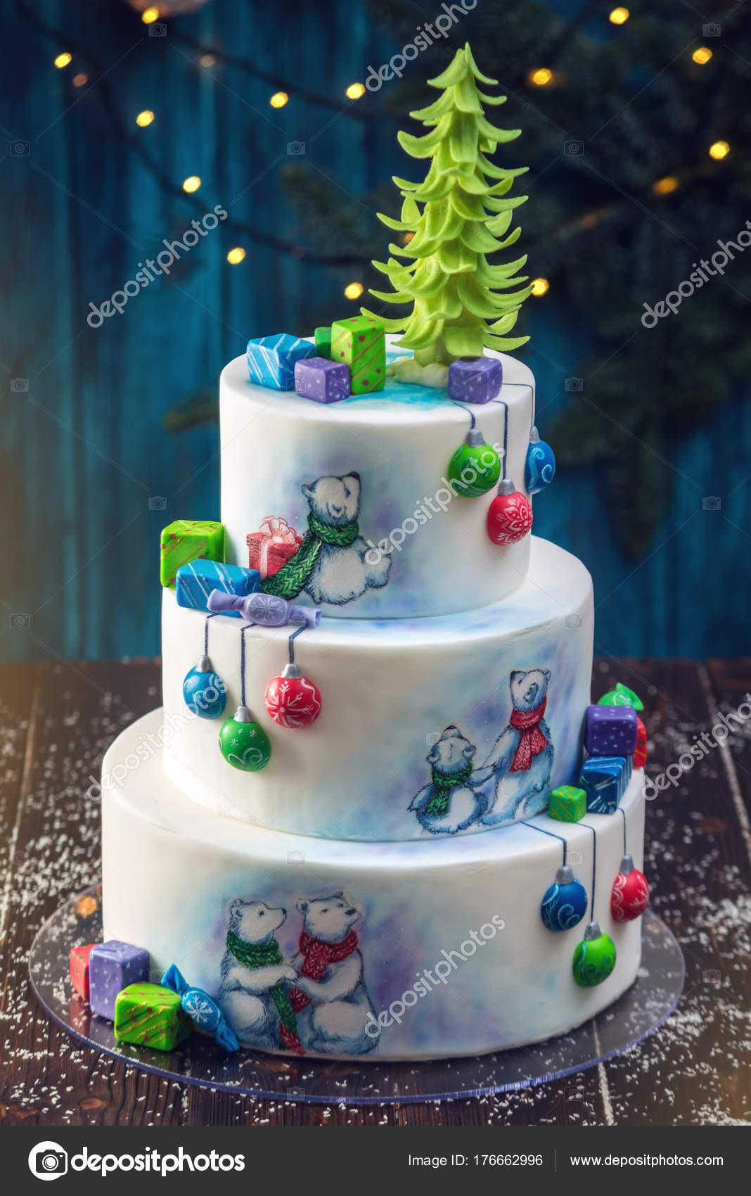 Weihnachten Bunten Dreischichtige Kuchen Verziert Mit Zeichnungen