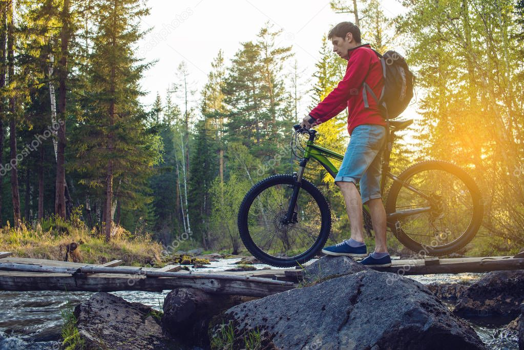 Фотообои Cyclist with a backpack on a mountain bike in the forest at sunset. Concept of an active lifestyle with nature