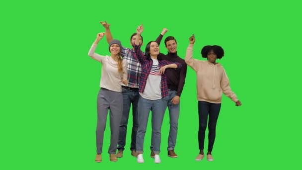 Friends at the concert having fun on a Green Screen, Chroma Key.
