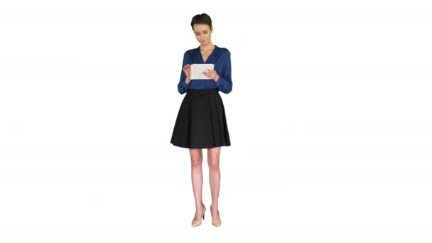 Businesswoman working on digital tablet on white background.