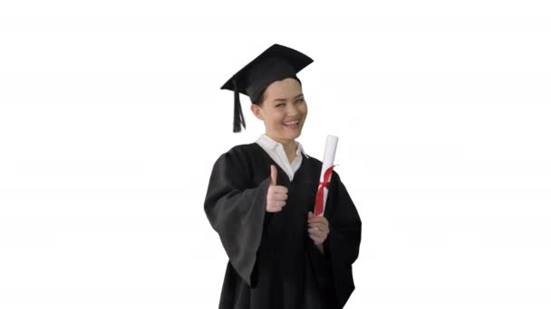 Happy graduate woman holding diploma and thumb up on white background.