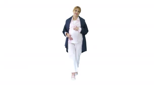 Pregnant woman feeling birth contractions on white background.