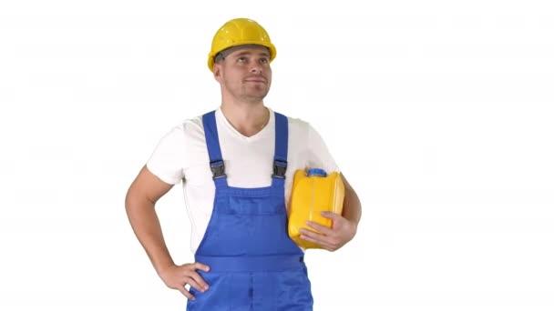 Šťastný pracovník v klobouku drží palce nahoru Renovace podívejte se na to na bílém pozadí.