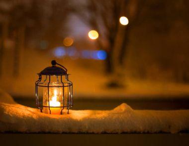Art Christmas lantern with snowfall