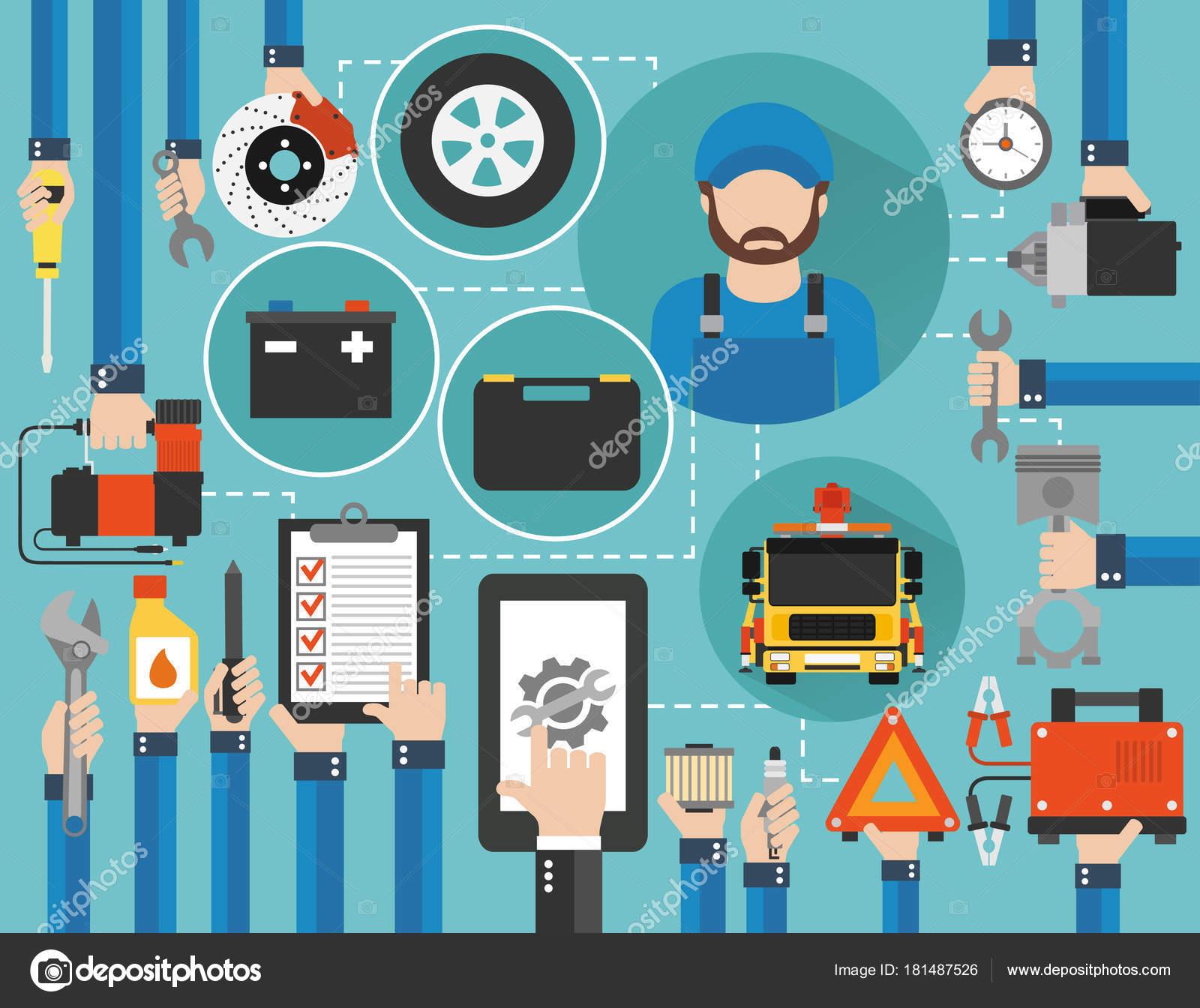 Auto Service online-Aufruf flache Bauweise mit Schädling und ...