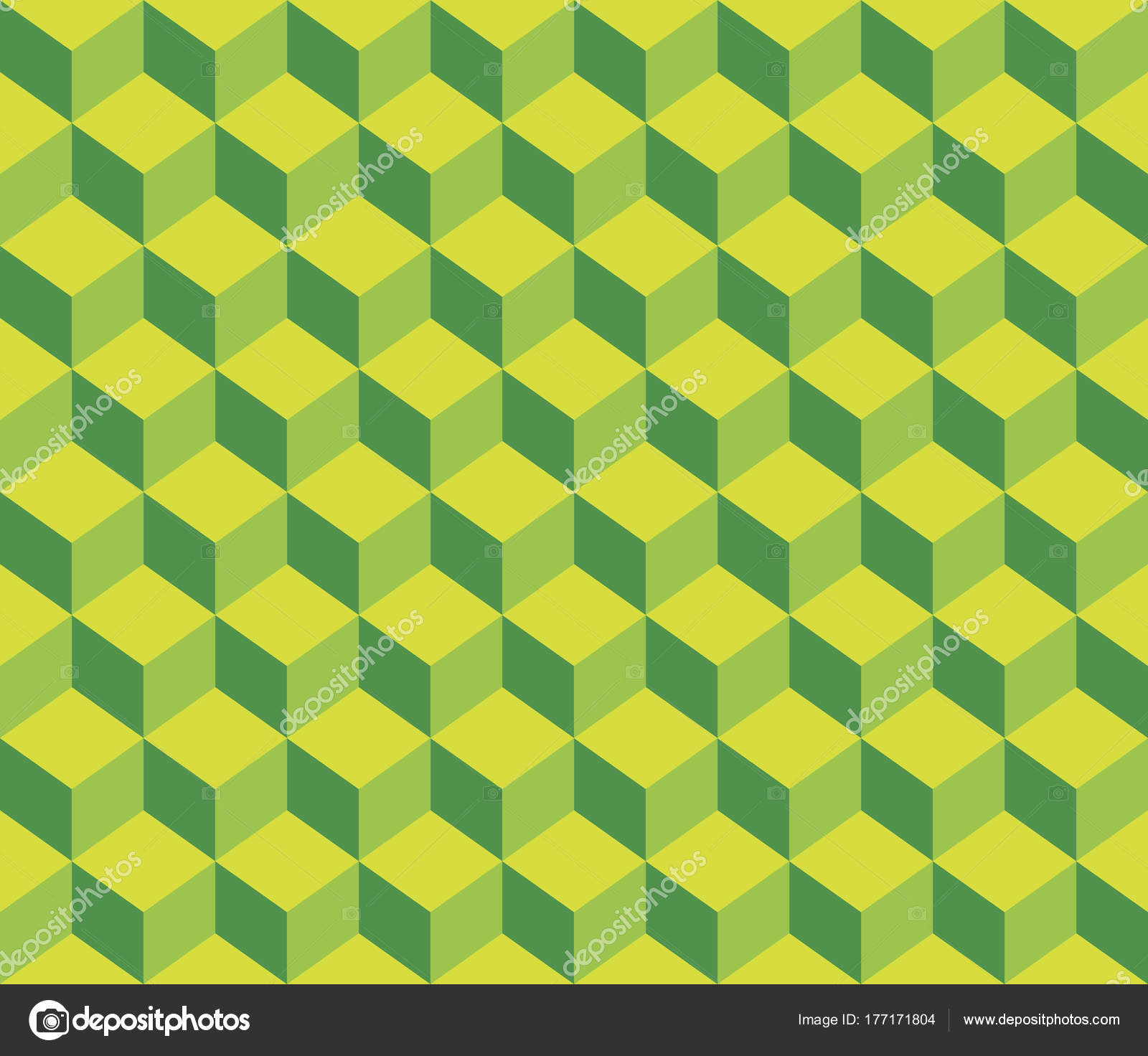 Light Yellow Green Contour Abstract Geometrical Cubes