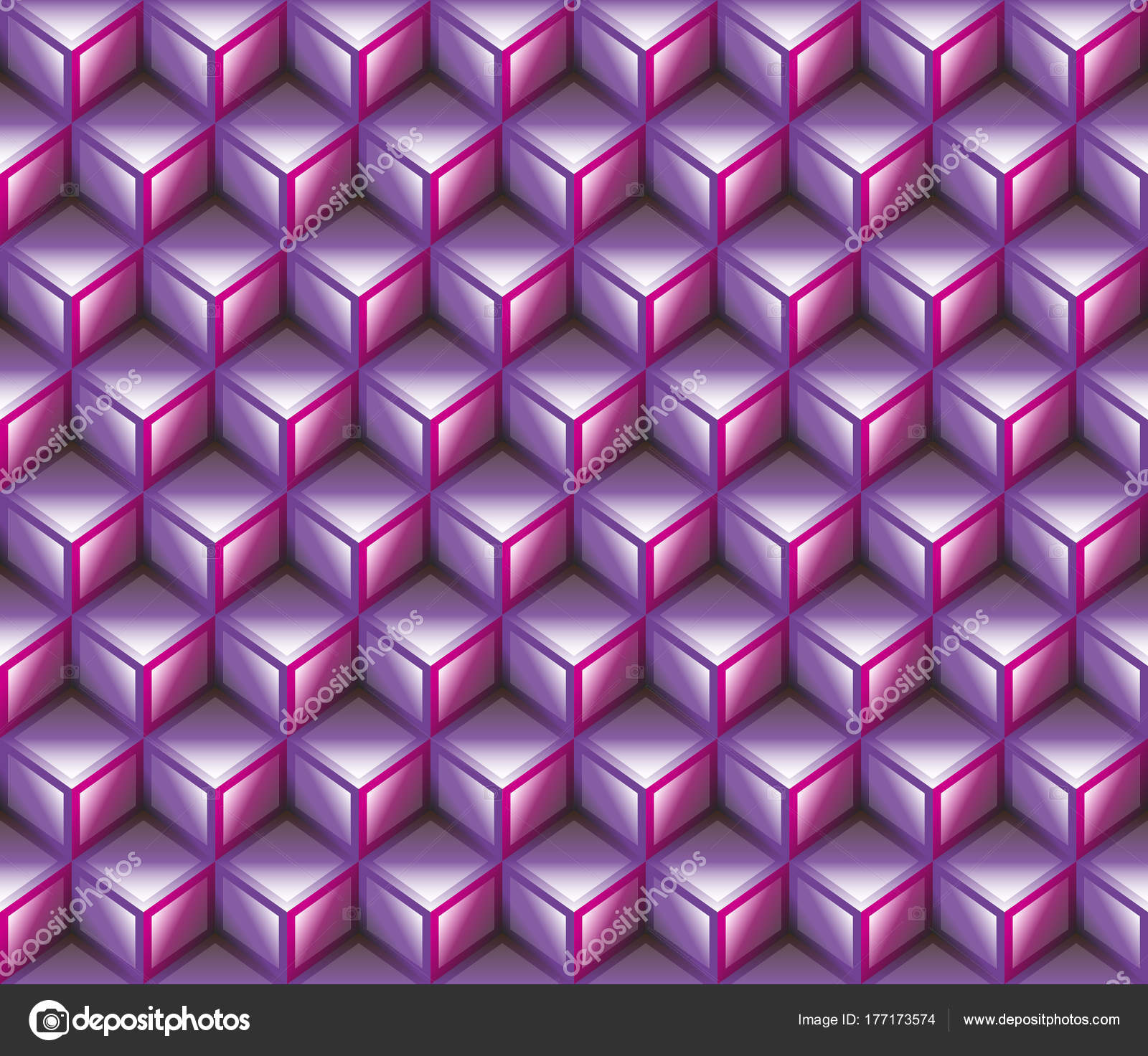Purple Pink Shaded Contour Abstract Geometrical Cubes