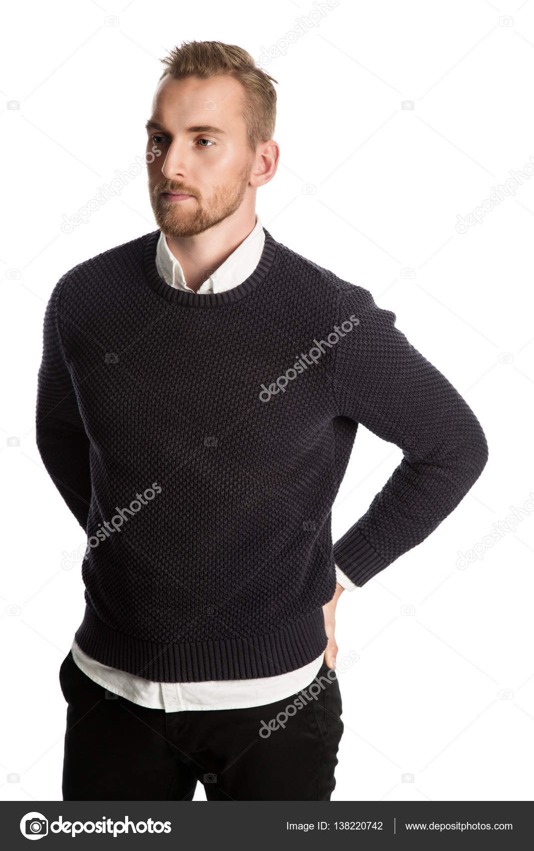 bea3fcf20c229 Hombre atractivo en camisa y pullover — Foto de Stock