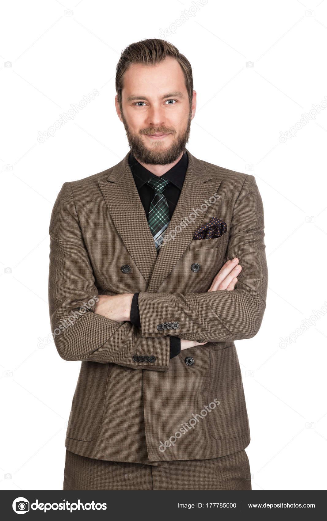 Gut Aussehend Geschaftsmann Einem Braunen Anzug Mit Einem Schwarzen