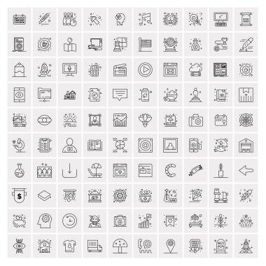 100 Universal Black Line Icons on White Background