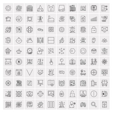 Set of 100 Creative Business Line Icons