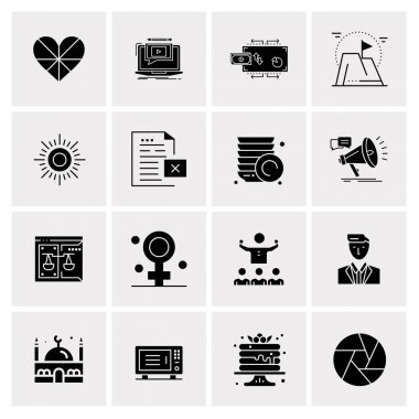 16 Universal Business Icons Vector. Creative Icon Illustration to use in web and Mobile Related project.