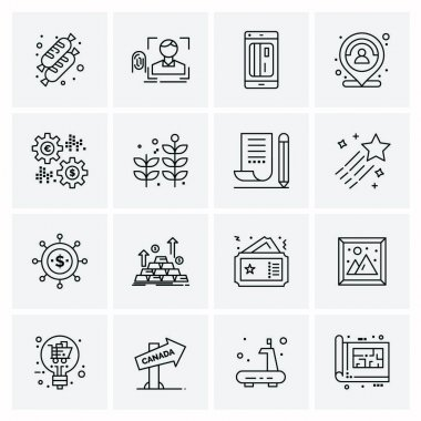 Set of 16 Universal Icons Business Vector