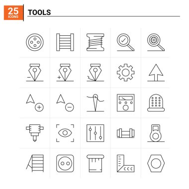 25 Tools icon set. vector background