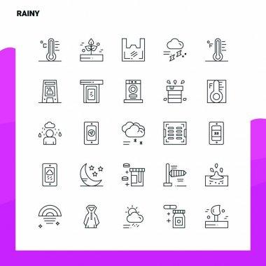Set of Rainy Line Icon set 25 Icons. Vector Minimalism Style Design Black Icons Set. Linear pictogram pack. icon