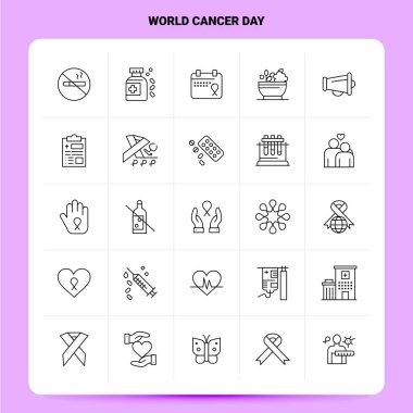 OutLine 25 World Cancer Day Icon set. Vector Line Style Design Black Icons Set. Linear pictogram pack. Web and Mobile Business ideas design Vector Illustration. icon