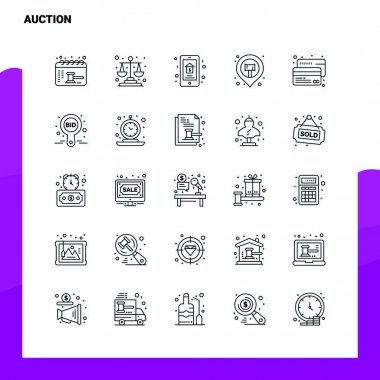 Set of Auction Line Icon set 25 Icons. Vector Minimalism Style Design Black Icons Set. Linear pictogram pack. icon