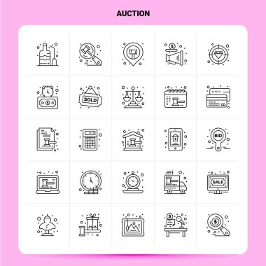 OutLine 25 Auction Icon set. Vector Line Style Design Black Icons Set. Linear pictogram pack. Web and Mobile Business ideas design Vector Illustration. icon
