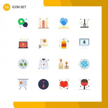 Universal Icon Symbols Group of 16 Modern Flat Colors of scoop, farm, partners, autumn, network Editable Pack of Creative Vector Design Elements icon