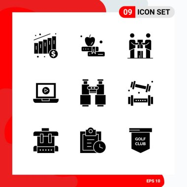 Stock Vector Icon Pack of 9 Line Signs and Symbols for explore, find, partners, binoculars, computer Editable Vector Design Elements icon