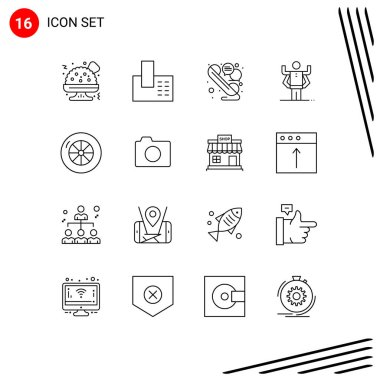 Pack of 16 Modern Outlines Signs and Symbols for Web Print Media such as image, vehicles, talk, tire, multitask Editable Vector Design Elements
