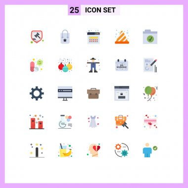 Stock Vector Icon Pack of 25 Line Signs and Symbols for folder, traffic cone, journey, stop, cone Editable Vector Design Elements icon