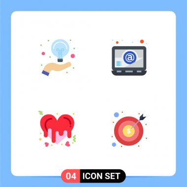 Stock Vector Icon Pack of 4 Line Signs and Symbols for bulb, love, idea, laptop, banking Editable Vector Design Elements icon