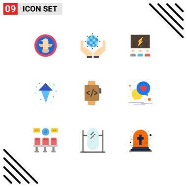 Stock Vector Icon Pack of 9 Line Signs and Symbols for up, arrow, brainstorming, thinking, team Editable Vector Design Elements icon