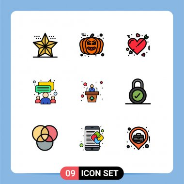 Stock Vector Icon Pack of 9 Line Signs and Symbols for team, group, avatar, chat, love Editable Vector Design Elements icon